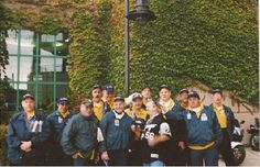"""Whie Sox vendors assemble outside Cellular Field on October 22, 2005 preparing to vend Game One of the 2005 World Series   Left to right, Rus Nelson, Todd Smoler (DJ Deluge), Don Gerstein, Ira Levin, Anthony Donato, Marv Mitofsky, Lloyd (""""Me"""") Rutzky, Glenn Smoler, the """"fan"""" Joey Svec, David Mariotti, Jim Jelinski, The """"Weasel"""" Scott Wesolek, and """"The Professor"""" Stephen Livingston."""