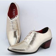 White and Gold Wedding. Groom and Groomsmen. Men Metallic Gold Patent Leather High Heel Dress Wedding Prom Shoes SKU-1100133