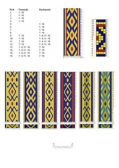 This digital download listing contains 8 patterns for tablet weaving, each pattern has 6 - 9 different color variations. You can see an example of 1 pattern in a listong photo. - 8 different patterns - Easy - medium level - Patterns for 12, 16 and 20 tablets Each pattern includes