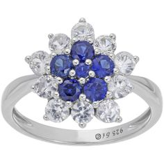 Lab-Created Blue and White Sapphire Cluster Sterling Silver Floral... ($103) ❤ liked on Polyvore featuring jewelry and rings
