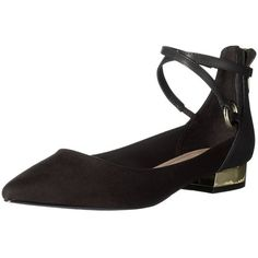 Aldo Womens Biacci Pointed Toe Ankle Wrap Slide Flats (740 CZK) ❤ liked on Polyvore featuring shoes, flats, black, pointy-toe flats, ballet flats, black ballerina flats, ballerina flats and pointed toe ballet flats