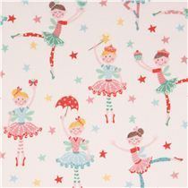 white ballerina dance star fabric by Andover