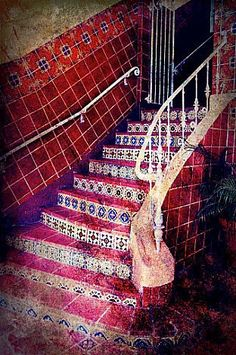 "Mexican Tile - Ceramic Tile Staircase in Brentwood, Los Angeles, California, Fine Art Photography 8x10"" Matte Print, READY to SHIP. $25.00, via Etsy."