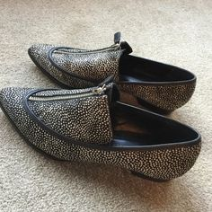 """10 Crosby Derek Lam Calf Fur Shoes Black and cream spotted calf fur shoes with top of the foot zipper and 1 1/2"""" heel. 10 Crosby Derek Lam Shoes Flats & Loafers"""