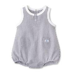 Baby boy bloomer overalls in striped seersucker