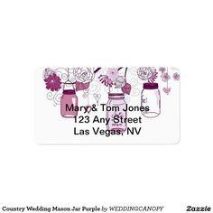 Country Wedding Mason Jar Purple Personalized Address Labels
