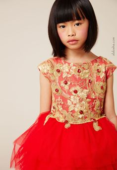 ALALOSHA: VOGUE ENFANTS: Must-have of the day: Red & Gold Embroidered Dress from Lesy Luxury Flower Haute Couture for Christmas