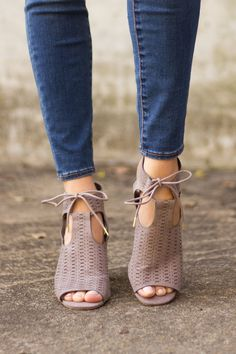 Your shoe closet is getting an upgrade when you snatch up these Feeling Fine Block Heels! Featuring small cutouts across the top, heel cut out, and a lace up finish, these taupe colored beauties are c