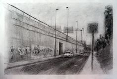 THE ROAD II. 28x40 cm.  Charcoal. E. Pitarch © 2014. All rights reserved.