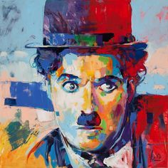 Excellent Artist Hand-painted High Quality Famous People Chaplin Oil Painting on Canvas Handmade Pop Art Portrait Oil Painting Abstract Portrait, Portrait Art, Abstract Art, Voka Art, Dynamic Painting, Frida Art, Painting People, Art And Illustration, Oil Painting On Canvas