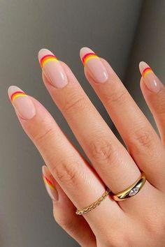 Minimalist Nails, Nail Swag, Best Acrylic Nails, Acrylic Nail Designs, Designs On Nails, Oval Nail Designs, Orange Nail Designs, Almond Nails Designs, Simple Nail Art Designs