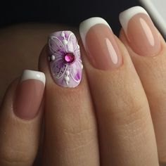 Purple and White Nail Art Design. Spruce up your boring nails with this addition of of purple color and pink stud in the middle of the nail along with French Tip.