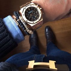 confessions-of-a-snob: Audemars Piguet Royal Oak Chronograph x Northskull & Anil Arjandas bracelets with Hermes 42mm belt