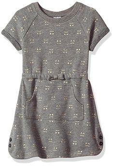 Gymboree Toddler Girls' Kitty Print Kanga Pocket Dress, Dark Grey, 4T