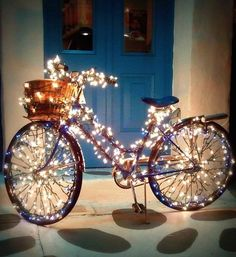 Christmas lights on bicycle...