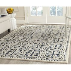 Fairburn Hand-Woven Wool Navy/Ivory Area Rug
