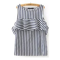 SheIn(sheinside) Navy White Sleeveless Vertical Stripe Ruffle Blouse (270 UAH) ❤ liked on Polyvore featuring tops, blouses, navy, white linen blouse, white summer blouse, striped blouse, white sleeveless blouse and navy blouse