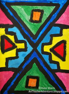 Ndebele-Inspired paintings african art for kids, african art projects African Art For Kids, African Art Projects, South African Art, African Crafts, African American Art, African Art Paintings, African Artwork, Afrique Art, African Theme