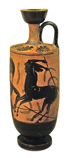 Lécito de figuras negras con escena de centauromaquia