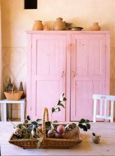 Pink cupboard (needs some added depth w/ antiquing or distressing etc.)