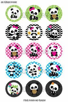 Cute Panda Bottle Cap Images Polka Dot by AllThingsPrettty Panda Themed Party, Panda Birthday Party, Panda Party, Baby Birthday, Minnie Mouse Clipart, Panda Cupcakes, Panda Baby Showers, Cartoon Panda, Bebe