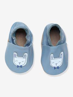 Craquez pour ces chaussons élastiqués en cuir souple, décorés d'adorables lapins sur le dessus du pied pour stimuler l'éveil de bébé.  Collection Automne-Hiver 2016 - www.vertbaudet.fr