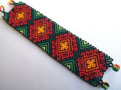 Mexican Huichol Beaded bracelet by Aramara on Etsy Woven Bracelets, Seed Bead Bracelets, Seed Bead Jewelry, Beaded Jewelry, Native American Jewellery, Native American Beading, Bead Loom Patterns, Loom Beading, Bead Art