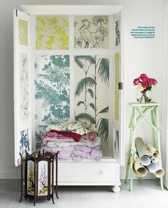 #wallpaper used creatively by Shannon Fricke to add style to a storage space. Who cares if the kids leave their cupboard doors open if they look like this!
