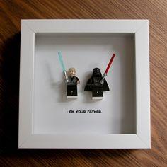 Art LEGO - Star Wars Darth Vader & Luke Skywalker - LEGO Minifigure Display - decoration murale - photo cadres affichage - affichage bois cadre par GeeksAndNerdsStudio sur Etsy https://www.etsy.com/fr/listing/246418339/art-lego-star-wars-darth-vader-luke