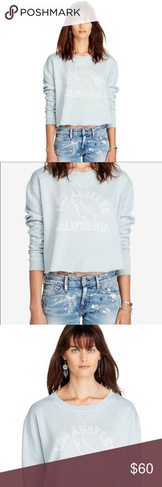 Denim & Supply Cropped LA California Sweatshirt Upgrade your sweatshirt game with this cropped version, which is finished with a shout-out to LA at the front for a cool take on souvenir style. Cropped silhouette. Size medium has a 21½ front body length and a 21¾ sleeve length. Crew neckline with a V-inset. Long sleeves with ribbed cuffs. Dropped shoulders. Los Angeles California text and a graphic outline of the state at the center front. 80% cotton, 20% pol. Denim & Supply Ralph Lauren Tops…