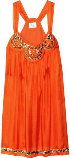 Milly Embellished Silk Trapeze Dress