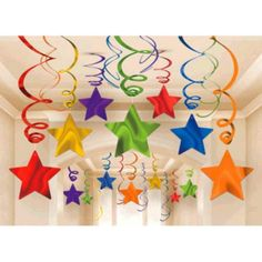 Pack of 30 rainbow star swirl decorations. Huge range of Rainbow party supplies at Discount Party Supplies. Star Decorations, School Decorations, Birthday Decorations, Hanging Decorations, Cute Kids Crafts, Preschool Crafts, Diy Crafts, Nursery Class Decoration, Paper Crafts Origami