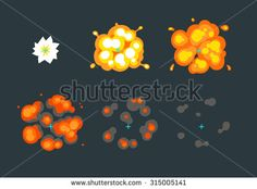 Animation for game, cartoon explosion in the air. 6 frame sprite sheet on dark background. - stock vector