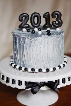 New Years Eve cake!  So cute.....they just bought birthday number candles and spray painted them!
