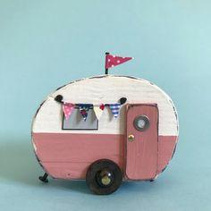 Rounded vintage van #lorainespick #shabbydaisies #shabbychic #vintagecaravan #caravan #handmade #summer #holidays #bunting #rusticart #rustic