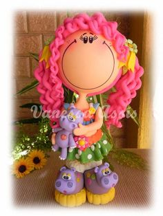 Boneca Fofucha em Biscuit, totalmente modelada à mão sem uso de moldes. Cores vivas e estilo apaixonante! FRETE SOB CONSULTA! R$ 75,00