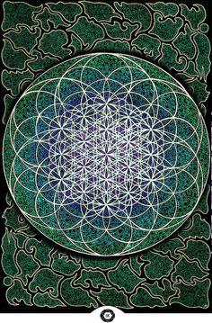 The Flower of Life by Iris Maria- Mandala Geometry Art, Sacred Geometry, Mathematics Geometry, Yoga Studio Design, Yoga Inspiration, Auras, Tarot, Flower Of Life, Sacred Art