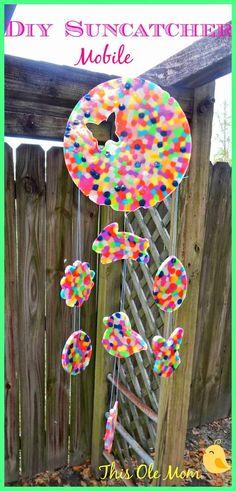 DIY Melted Bead Sun Catcher Mobile…cute for Easter or Mother; DIY Melted Bead Sun Catcher Mobile…cute for Easter or Mother; Crafts For Boys, Diy For Kids, Crafts To Make, Fun Crafts, Children Crafts, Camping Crafts, Kids Fun, Easter Crafts, Melted Bead Suncatcher