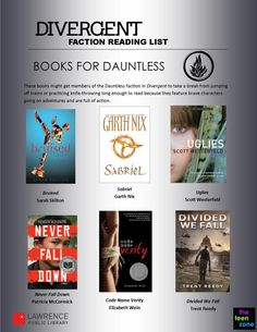 """Books for Dauntless Faction of Divergent. There are graphics for all of the factions from """"Divergent"""". A highly recommended series itself and these recommendations are a good way to direct readers according to their personalities. Ya Books, I Love Books, Good Books, Books To Read, Book Suggestions, Book Recommendations, Divergent Factions, Divergent Series, Divergent Party"""