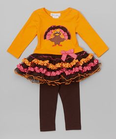 Look at this Gerson & Gerson Turkey Tutu Dress & Leggings - Infant, Toddler & Girls on #zulily today!
