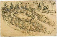 Vincent van Gogh: Public Garden with Vincent's House in the Background  Arles: late April, 1888 (Amsterdam, Van Gogh Museum)