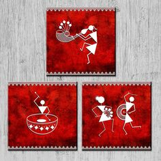 Warli paintings wall art for home decor in traditional Indian style. Ethnic design paintings for home decor. Worli Painting, Canvas Painting Tutorials, Fabric Painting, Madhubani Art, Madhubani Painting, Indian Wall Art, Rajasthani Art, African Art Paintings, Mandala Art Lesson