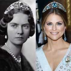 Princess Madeleine and her grandmother Princess Sibylla wearing the Aquamarine Kokoshnik tiara.
