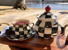 Chocolate Treats, Gluten Free Chocolate, Enamel Teapot, Tea Blog, Clay Teapots, Small Tea, Checkerboard Pattern, Warm Spring, Deck Furniture