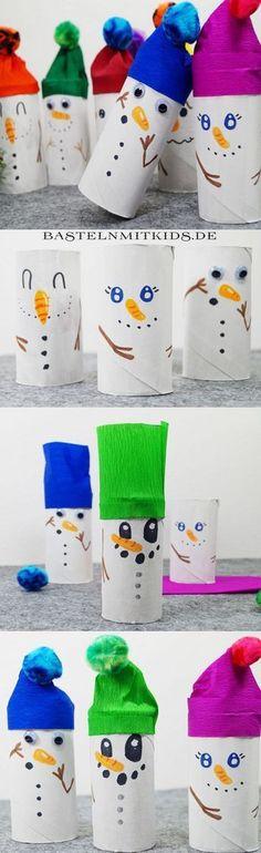 Schneemann basteln mit Kindern. Für eine schöne Weihnachts- und Winterzeit. Tolle Bastelideen für Kinder und Kleinkinder. http://bastelnmitkids.de/