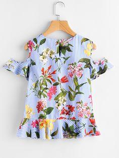 Open Shoulder Frill Hem Botanical Print Blouse -SheIn(Sheinside) Beautiful Blouses, Beautiful Outfits, Short Sleeve Collared Shirts, Girl Fashion, Fashion Outfits, Whimsical Fashion, Nursing Dress, Printed Blouse, Floral Blouse