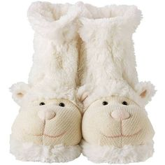 Fluffy Lamb Slippers by Jomanda (40 CAD) ❤ liked on Polyvore featuring shoes, slippers and random