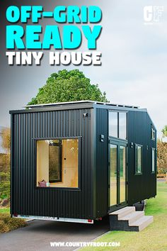 This unique off-grid ready tiny house on wheels is perfect for both permanent parking and live on the go. The 'First Light Tiny House' was designed by the Small Cabin Plans, A Frame House Plans, Tiny House Plans, Tiny House On Wheels, House Floor Plans, Tiny House Trailer, Tiny House Living, Shed Plans, Little Houses