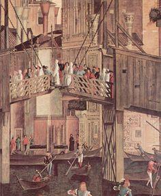 piętnastowieczna Wenecja  -  Vittore Carpaccio, Il miracolo della reliquia della Santa Croce (1494). Dettaglio: il ponte di Rialto, costruito in legno come ponte levatoio.