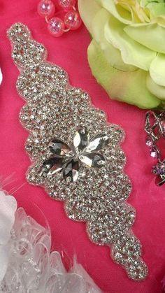 """XR25 Black Backing Rhinestone Applique Crystal Clear Silver Beaded 6/"""""""
